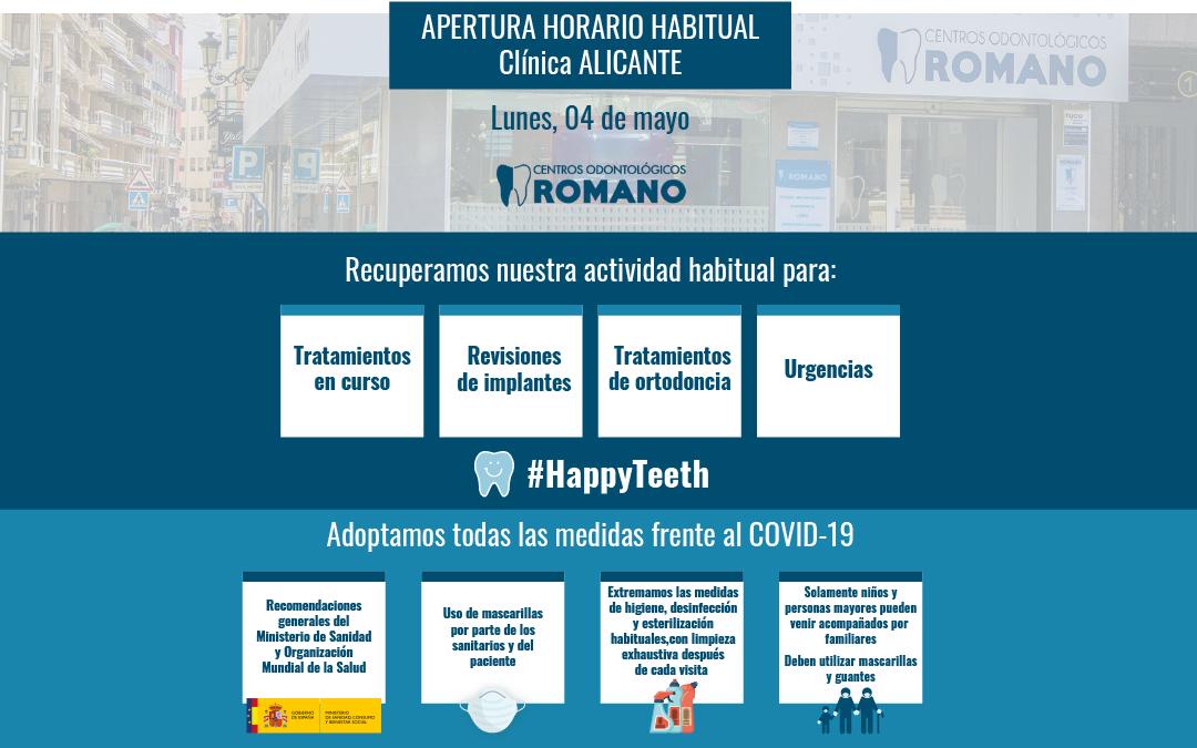 Reabrimos nuestra clínica de Alicante a partir del lunes 4 de mayo